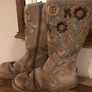 Embroidered tall Ugg boots